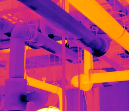Thermal Imaging showing temperature difference between insulated and non-insulated piping